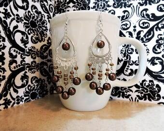 Beautiful Brown Beaded Dangle Earrings