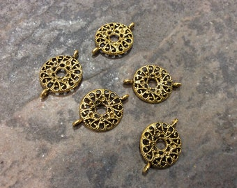 Antique Gold Filigree Circle Connectors Package of 5 Bracelet, Necklace or Tassel Connectors