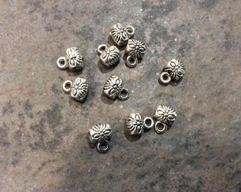 Antique Silver Finish Charm Bails with flower detail  package of 10 Large Hole Beads Charm holder European charm bracelet charm holder