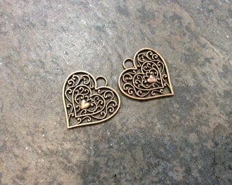 Antique Copper Filigree Heart Charms package of 2 double sided charms Valentines Day charms