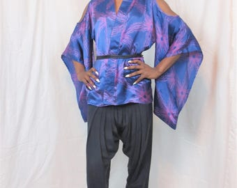 It's here...the Kefira custom one of a kind upcycled 80s kimono sleeve style lingerie shoulder cut out geometric print Japanese robe blouse