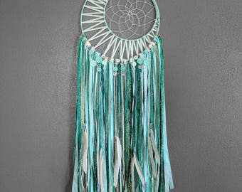 Crescent Moon Dream Catcher || Button and Feather Accented || Teal Mint Dreamcatcher