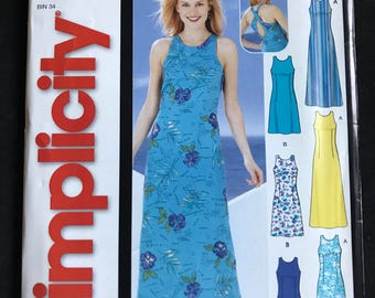 Simplicity 5536 - Easy to Sew Sunderss with Racer Back and Criss Cross Straps in Knee or Tea Length - Size 8 10 12 14 16
