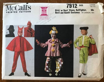 McCalls 7912 - 1960s Kids Costume Collection Matador, Clown, Devil, and Phantom Thief - Size Large 10 12