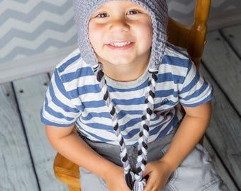 Crocheted gray koala bear hat, knitted funny Australia animal beanie for kids teens and adults