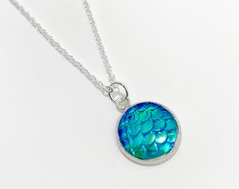 Mermaid Scales Necklace/Blue Scales Necklace/Blue Mermaid Scales Necklace