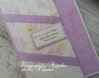 Birthday Card Mum, Handmade, Mum,  Daughter, Wife, Mother's Day,Personalized,