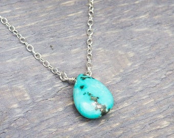 Genuine Turquoise - Turquoise Necklace - Turqoiuse Jewelry - December Birthstone - Drop Necklace - Dainty Necklace - Gift for Her - Sleeping