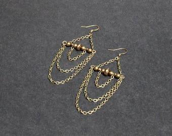 Bronze earrings, beads, long jewelry, boho, hippy accessory, tribal fusion style