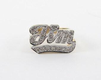 14K Yellow Gold Jim Diamond Name Ring Size 7 1/2 Men's Diamond Name Ring