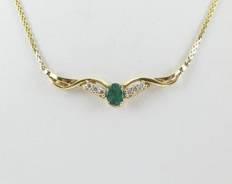 14K Yellow Gold Diamond And Emerald Necklace 1.30 carats - Gemstones Necklace