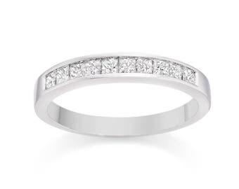 Diamond Wedding Band 14k White Gold Ring Size 7 Princess cut 0.65 carat