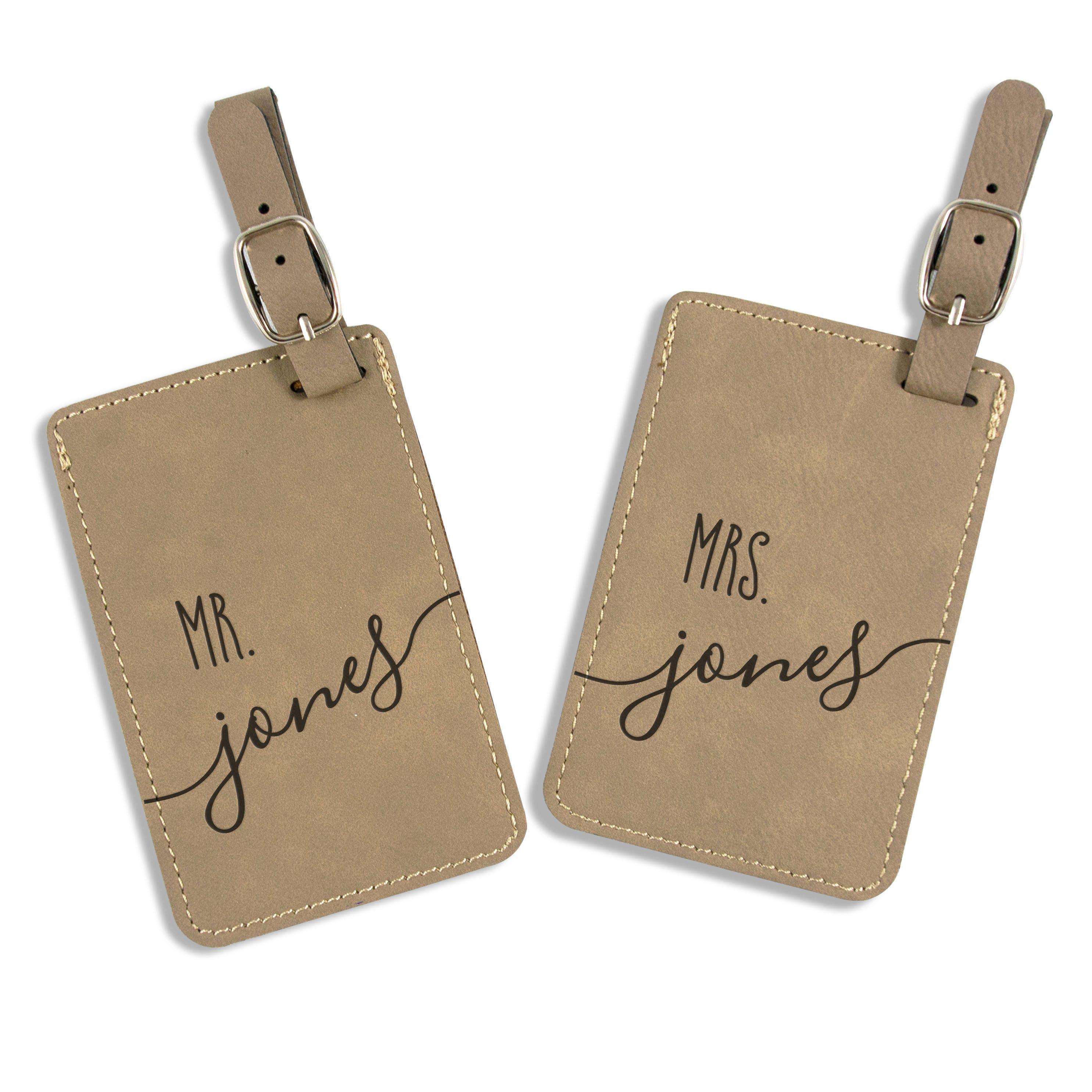 Personalized Luggage Tags Wedding Gift: Wedding Gift Personalized Luggage Tag Leatherette Bag Tag