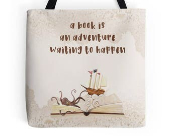 book is an Adventure waiting to happen library books tote bag ecofriendly tote reading gift reading tote bookish gifts gift for book lovers