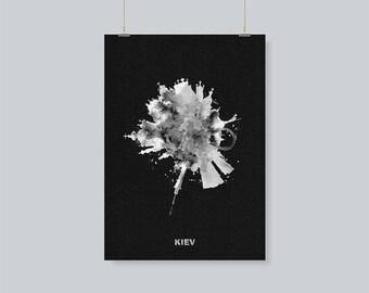 Kiev, Ukraine Black and White Skyline/Skyround Wall Art, Kiev Skyline / Cityscape Travel Poster as A Souvenir / Gift Idea