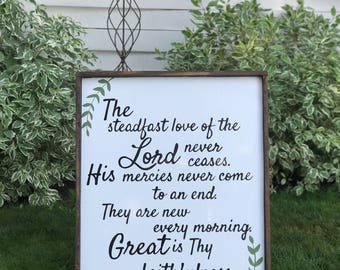 The Steadfast Love of the Lord- Verse- Great is Thy Faithfulness Painted Wood Sign