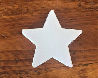 "Large White Star Die Cuts (4"" wide), White Star Cutouts, All Purpose Paper Stars, Star Decor, White Paper Stars"