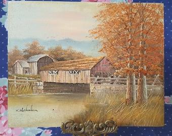 Wood Covered Bridge Art Painting Barn Farmhouse Fall Autumn Artwork by K Michaelson FS 34