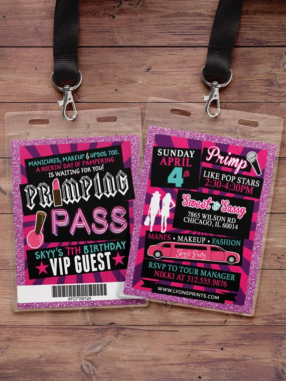 Spa party primping pop star rock star vip pass birthday party il570xn stopboris Images