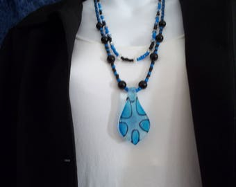black blue beaded necklace