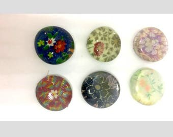 Glass Flat Clear Dome Marble Magnets Vintage Tiny Flower Fabric Your Choice