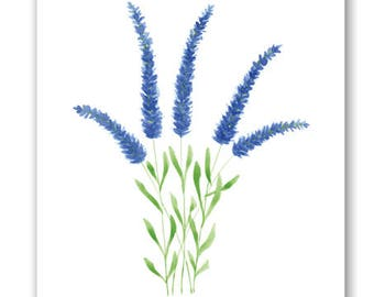 Printable Art, Blue Lavender Print, Printable Lavender, Lavender Watercolor Painting, Printable Wall Art, Flower Art Print, Digital Download