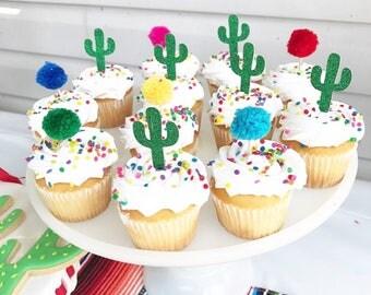 Cactus Fiesta Cupcake Toppers
