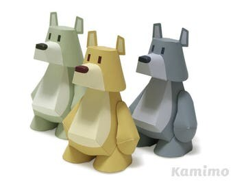 "Printable Paper Craft PDF / Bear ""Koomarty"" Yellow, Green, Blue-Gray"