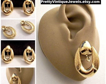 Monet Drop Hoop Door Knocker Clip On Earrings Gold Tone Vintage Large Oval Brushed Smooth Two Tone Rings Triangle Button Comfort Paddles