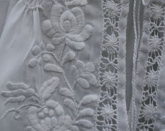 Vintage hand embroidered Hungarian women's blouse with white on white Matyó embroidery