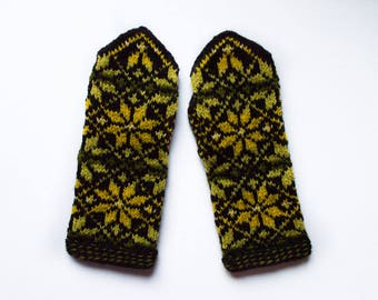 Latvian mittens, ethnic style mittens, hand knitted mittens, long wool mittens, long knitted mittens, long wool gloves, star pattern mittens