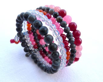 Pink and grey muti row Cuff Bracelet, steel and natural stones
