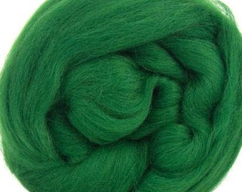 Merino Wool Combed Top/Roving - Forest Green
