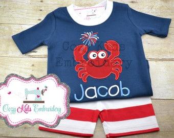 Summer Pajamas, Fourth of July Pajamas, Patriotic Pajamas, Boy Pajamas, Girl Pajamas, Crab Pajamas, Custom Embroidery Applique Pajamas