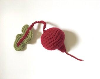 Crochet Pretend Beet | Crochet Fake Food Kitchen Toy | Knit Beet Rattle