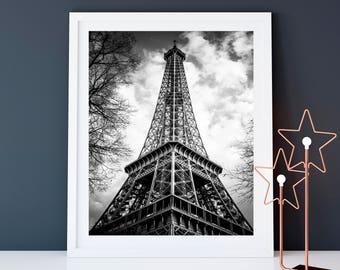Photographie Fine Art de la Tour Eiffel en Noir et Blanc - Toile Photo de Paris