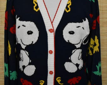 Vintage 80s 90s Snoopy Cardigan Sweater, 1980s 1990s Button Front Jumper, Oversized Size Large to XL