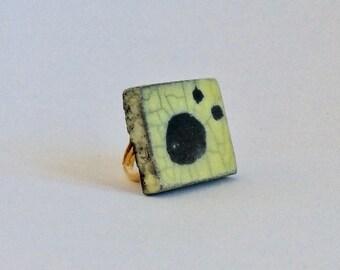 Raku ring - Raku ceramic yellow ring - Yellow and black ceramic ring