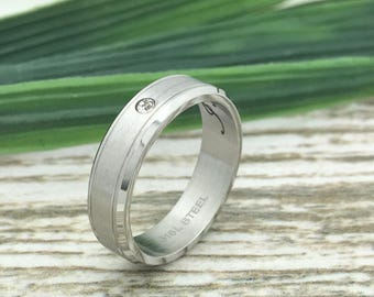 5mm Stainless Steel Ring, Engraved Wedding Date Ring, Couples Names Ring, Roman Numeral Ring, Coordinates Ring, Couple Promise Ring