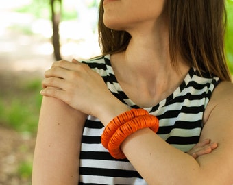 Orange spiral bracelet, Beaded cuff, Contemporary  jewelry