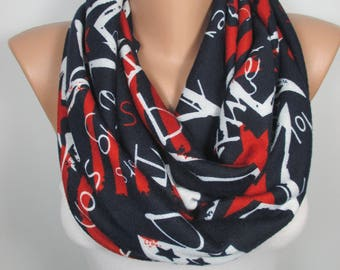 Infinity Scarf Star Scarf Loop Scarf Circle Scarf Navy Blue Red Scarf Women Fashion Accessories Christmas Gift For Her For Women Scarf
