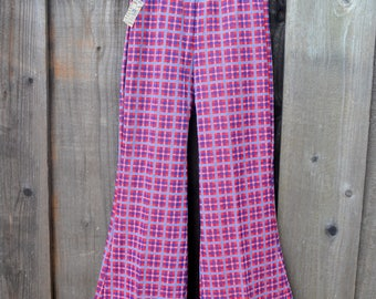 Vintage Plaid Bell Bottom Pants, Child Size 8, NWT Deadstock, Red White and Blue Polyester Plaid Flared Leg Pull On Pants, 1970s