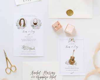 Illustrated Wedding Invitation Suite | Custom Hand Drawn Stationery Suite for Weddings & Special Events
