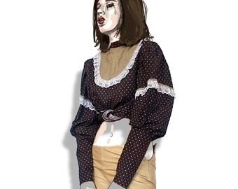 Leg o mutton sleeve 70s prairie blouse