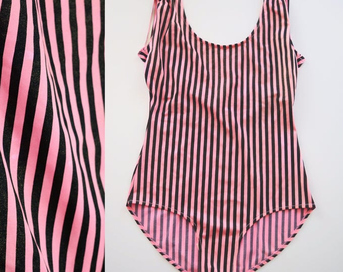 Featured listing image: Vintage 80s 90 Leotard // Retro Pink Striped Swimsuit, 1980s One Piece, 1990s Activewear Costume Women Size Medium Large