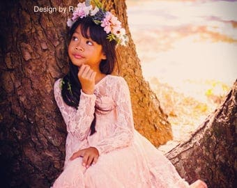 Peach Long sleeves lace  Flower Gril Dress, Peach Girl Dress , Lace girls Dress Shoulder ,Baby dresses