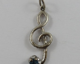 Treble Clef With Turquoise Stone Sterling Silver Vintage Charm For Bracelet