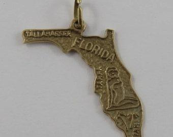 Map of Florida State 14K Gold Vintage Charm For Bracelet
