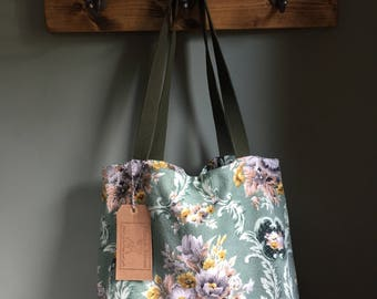 Vintage floral barkcloth fabric tote bag - green/gold/grey