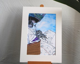 The Traveller Print, Travelling, Hot Air Balloon, Collage, Maps, Destinations, Flying